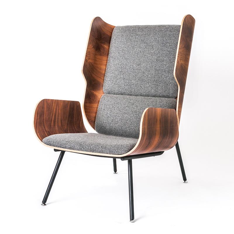 Gus Elk Chair - Andorra Pewter & Walnut - P01